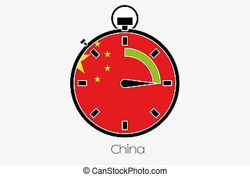 Stopwatch with the flag of China