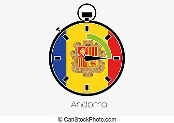 Stopwatch with the flag of Andorra - A Stopwatch with the...