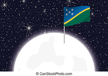 Moon Illustration with the Flag of Solomon Islands - A Moon...