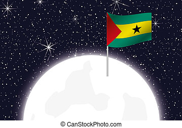 Moon Illustration with the Flag of Sao Tome E Principe - A...