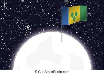 Moon Illustration with the Flag of Saint Vincents and the...