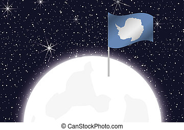 Moon Illustration with the Flag of Antartica - A Moon...