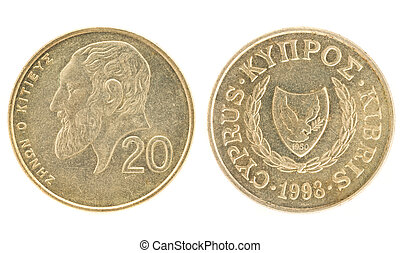 Money of Cyprus - 20 cents. Obverse and reverse