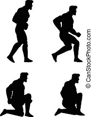 Crouching Man Animation Sprite - Vector Illustration of Man...