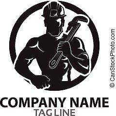 Oil Rig Worker Logo - Vector Design of Oil Rig Worker...