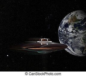 unidentified flying object flying in space