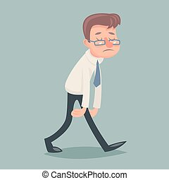 Vintage Businessman Walk Sad Tired Weary Character Icon on...