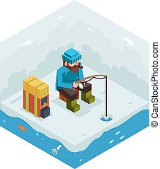 Ice Fishing Winter Activity Vacation Icon Flat Design...