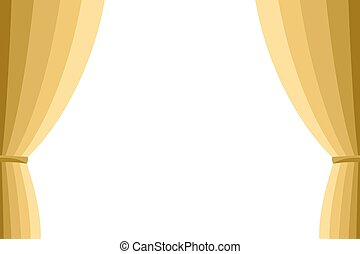 Golden curtain opened on a white background Design element...
