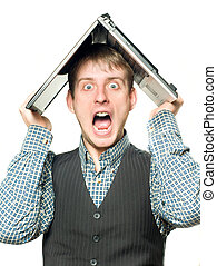 Shocked man with laptop over his head