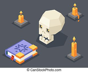 Night Wisdom Magic Icon Skull Spellbook Candles Flat Design...
