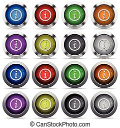 Information button set - Set of information glossy web...