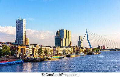Buildings on the embankment of Rotterdam - the Netherlands