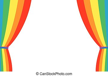 Rainbow curtain opened on a white background. Multicolored...