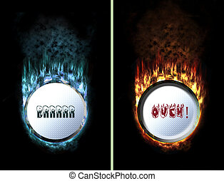 Too cold and too hot button - isolated fire button pressed...