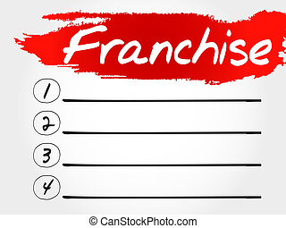 Franchise blank list, business concept