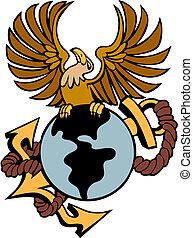 Phoenix Anchor Globe - Phoenix bird with globe anchor...