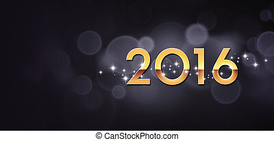 2016 Greeting card - New Year gold 2016 isolated on festive...