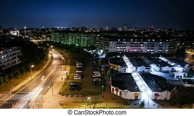 panorama of Warsaw at night - colorful panorama of Warsaw at...