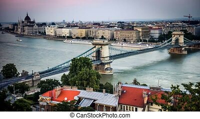 view on the bridge on Danube in Budapest - time lapse of...