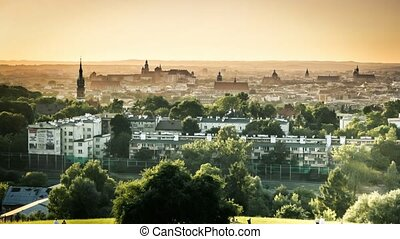 time lapse of sunset over Krakow - time lapse of beautiful...