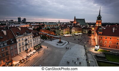 Old Town in Warsaw - Time lapse of night panorama of Old...