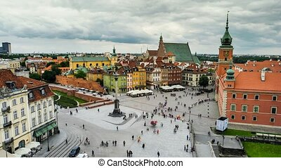 time lapse of warsaw center square with walking people and...