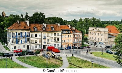 time lapse of historical warsaw buildings
