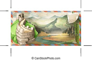China vector postcard - Background travel, China