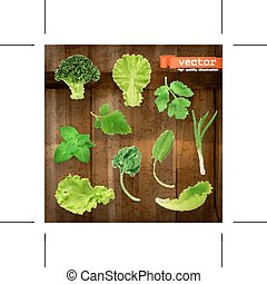 Greens, vector icons - Set with greens, vector icons on...