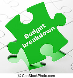 Finance concept: Budget Breakdown on puzzle background -...