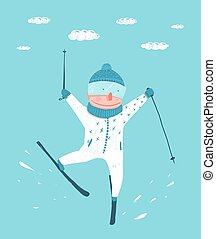 Funny Colorful Skier Performing Jump Stunt Cartoon - Funky...