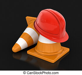 Helmet and traffic cones Image with clipping path