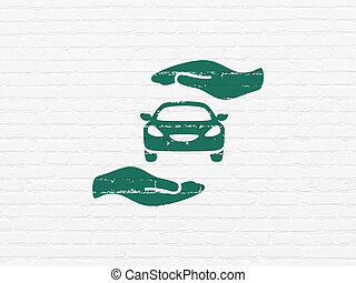 Insurance concept: Car And Palm on wall background -...