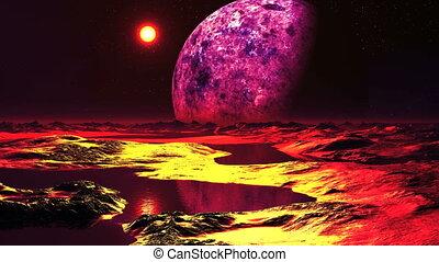 Sunset on the alien planet