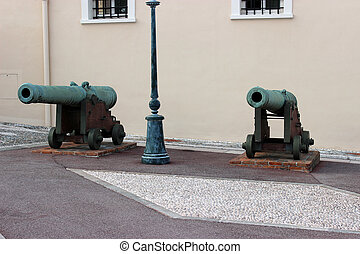 Old Cannon in Monaco - Two old Cannon at the Palace of...