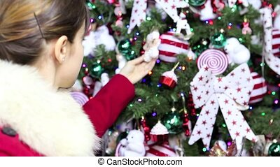 Christmas woman shopping decoration for tree