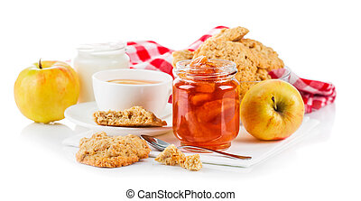 Breakfast with tea and fresh cookies. Isolated on white...