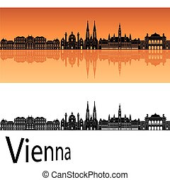 Vienna V2 skyline - Vienna skyline in orange background in...