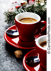 Christmas coffee - Coffee Espresso Red Cups Of Coffee and...
