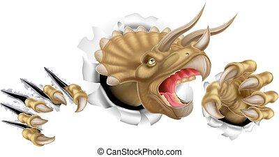 Dinosaurio,  Triceratops, excelente, garras
