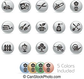 Gardening Icons - MetalRound - The file includes 5 color...