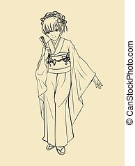 Japanese Traditional Costume - Japanese lady in traditional...