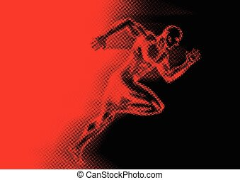 Sprinter In Halftone Effect - Illustration of a man off to a...