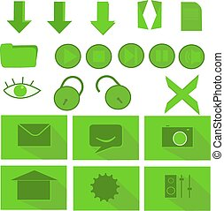 file icon set - Green buttons can be used on designing and...