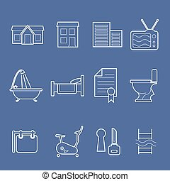 Accommodation amenities icons - Real estate and...