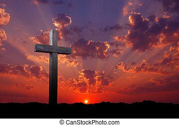 viejo, de madera, cruz, en, salida del sol,