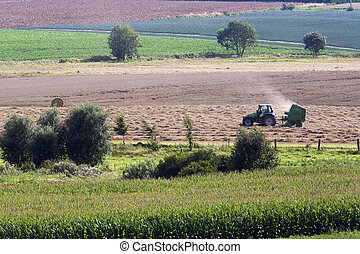 Rural scene with tractor making hay bales