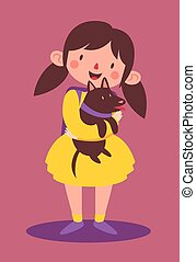 School Girl Holding her Dog - Vector illustration of a...