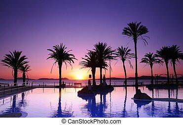 Samil beach in Vigo, Spain. - Sunset on the beach of Samil...